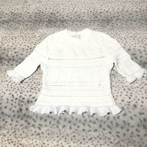 3.1 Phillip Lim Knit Top XS White Ruffle Cropped